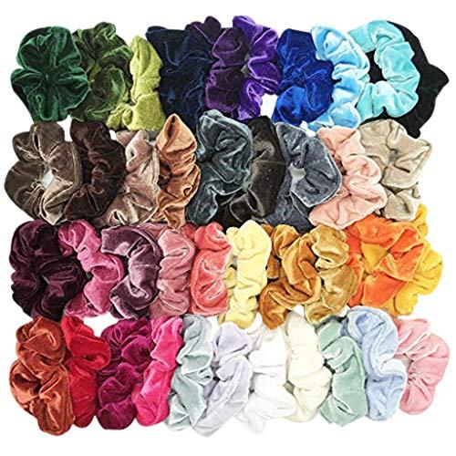 BaZhaHei 40 Elastici per Capelli in Velluto Elastico, Elastici per Capelli per Donne o Ragazze, Accessori per Capelli – 40 Colori Assortiti (Multicolor, F)