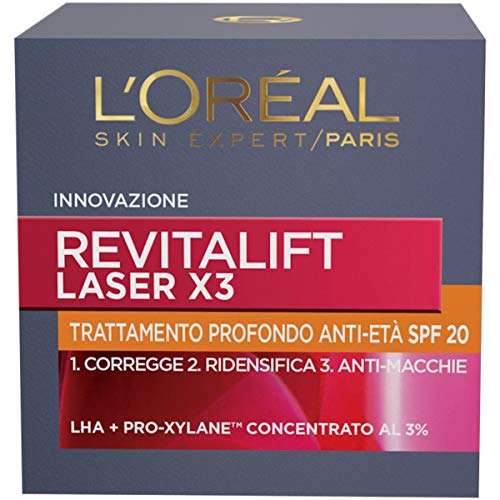 L'Oréal Paris Crema Viso Giorno Revitalift Laser X3, Azione Antirughe Anti-Età con Acido Ialuronico e Pro-Xylane, Protezione SPF 20, 50 ml
