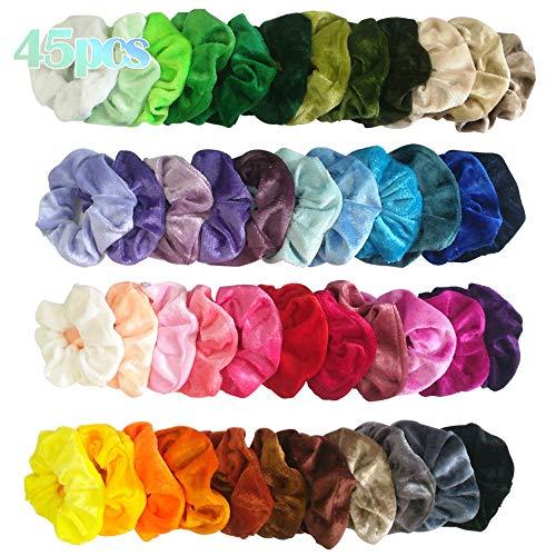 45 Colori Elastico in Velluto Scrunchies, elastici per capelli in velluto Nastri elastico,Colorato Forte Tenere Bobble Capelli Fasce,Morbido Accessori per Capelli per Donne Ragazze