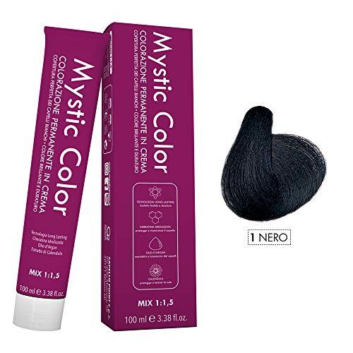 Mystic Color - Colore Nero 1 - Tinta per Capelli - Colorazione Professionale in Crema a Lunga Durata - Con Cheratina Idrolizzata, Olio di Argan e Calendula - 100 ml