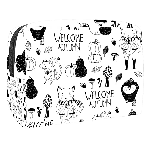 Makeup Bag for Purse PVC Travel Cosmetic Pouch Fox Pumpkin Toiletry Bag for Women Girls Gifts Portable Water-Resistant Daily Storage Organizer 7.3x3x5.1 Inch