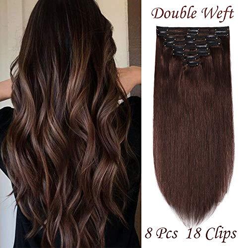 (25-60cm) Extension Clip Capelli Veri Double Weft 8 Fasce 110g Capelli Umani 100% Remy Human Hair 30cm - 4 Marrone Cioccolato