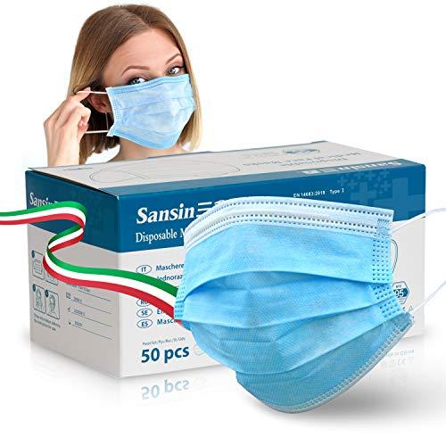 SANSIN Mascherina chirurgica certificata, Non Sterile di Tipo 1 a 3 Strati, Nasello Regolabile, Magazzino italiano (Confezione di 50 Pezzi)