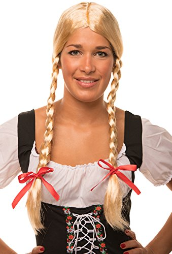 Balinco Parrucca Heidi / Gretel bionda con trecce e Fiocchi Rossi per Donne e Uomini per Carnevale