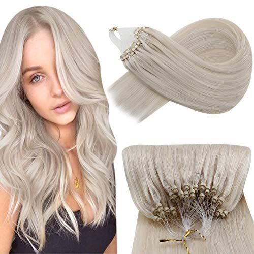 Hetto Microring Extension Capelli Veri Remy Human Hair Lisci Estensioni Riutilizzabili Bionda Bianca 20 Pollici 50G/Pack