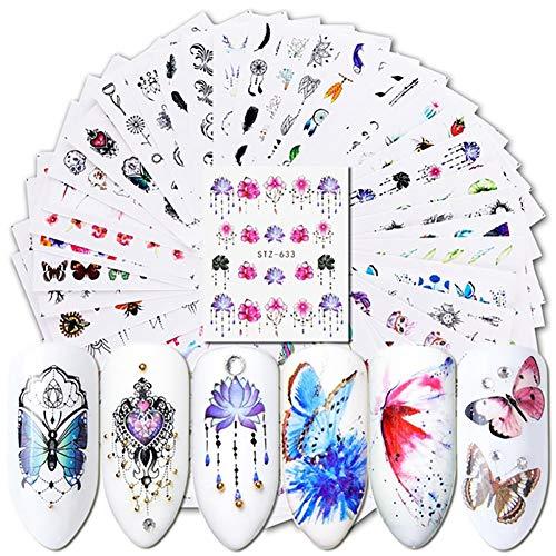 Oce180anYLV - 40 adesivi per nail art con fiori e farfalle, decorazione per manicure