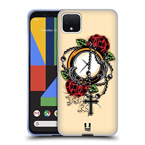 Head Case Designs Rosario Tatuaggi Old School Cover in Morbido Gel e Sfondo di Design Abbinato Compatibile con Google Pixel 4 XL