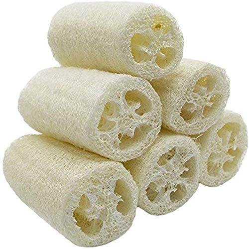 VOARGE - Spugna di luffa naturale, 6 pezzi, di alta qualità, peeling, scrubber, per lavare il corpo, adatto anche per la pulizia della casa, per la pulizia della pelle morta (circa: 10 cm)