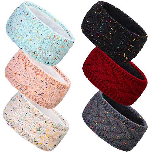 WILLBOND 6 Pezzi Invernale Fasce per Capelli con Cavo Fasce per Capelli a Maglia Foderato in Pile Fascia Avvolgento per Orecchie (Colori Vintage)