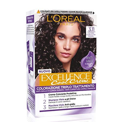 L'Oréal Paris Tinta Capelli Excellence Cool Creme, Copre i Capelli Bianchi, Colore Ricco dai Toni Freddi, 3.11
