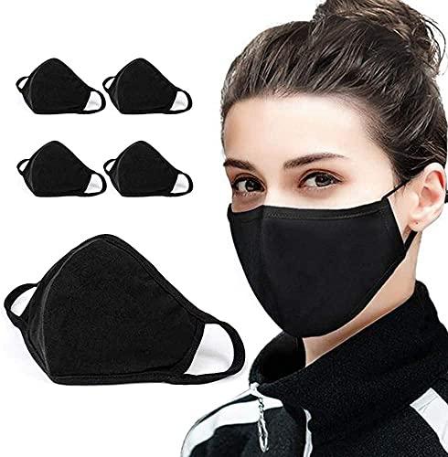 Confezione da 5 passamontagna protettivi a bandana | in cotone anti-polvere | per uomini e donne | 2 strati riutilizzabili e lavabili – venditore britannico (confezione da 5, nero)