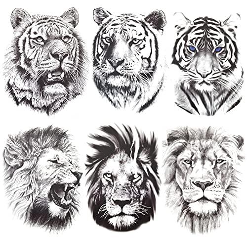 AIBAOBAO Tatuaggi Temporanei Adesivi per Uomo e Donna, 6 Fogli Tribali Realistici Re Leone Tatuaggi Temporanei Adesivi, Impermeabili Rimovibili Non Tossici Nero Schizzo Face Art Tatuaggi Adesivi