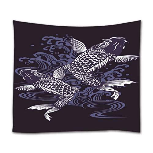 A.Monamour Arazzo da Parete Grande Mandala Pesce Carpa Giapponese E Motivo A Onde Acquerello Blu Tatuaggio Arredamento d'Arte Asiatica Telo Tessuto Tenda Tovaglia Copriletto Arazzi Murale Decorazione