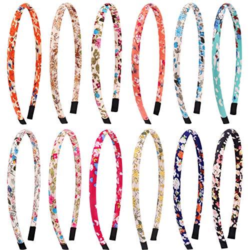Candygirl 12 Pezzi Cerchietti per Capelli Glitter Velvet Fascia Ribbon Multicolore Hairbands Accessori per Capelli,diametro 36 cm