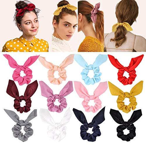 12pz Scrunchies per capelli Chiffon elastico per capelli Scrunchy Bobbles Porta coda di cavallo Fascia per capelli per donna Donna