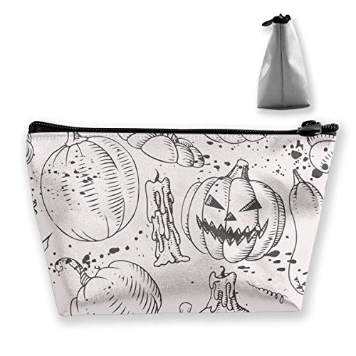 Halloween Pumpkins Print Waterproof Trapezoidal Bag Cosmetic Bags Makeup Bag Large Travel Toiletry Pouch Portable Storage Pencil Holders