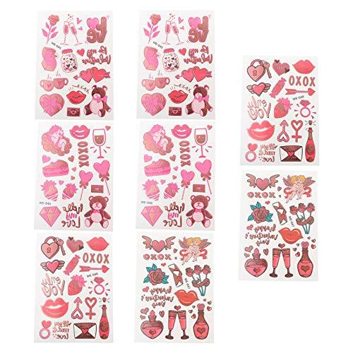 Artibetter 8 Fogli di Amore Del Cuore Tatuaggi Temporanei per Adulti Adolescenti Stickers Tatuaggio Del Corpo per Adulti Romantico San Tema Tatuaggi Coppia Tatuaggi Sticker Favori