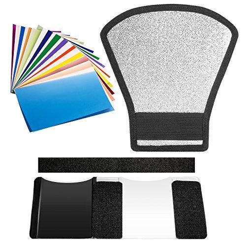 Neewer Kit di Filtri e Diffusore per Flash Speedlite – Riflettore Argento/Bianco & 12 Filtri Colorati per Speedlite Canon Nikon Pentax Godox Sony Sigma Nissin Sunpak