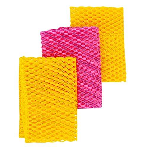 Panni a rete innovativi per lavare i piatti, 100% inodori, ad asciugatura rapida, dimentica le vecchie spugnette maleodoranti, 3 pezzi, colore giallo e rosa, 28 cm x 28 cm