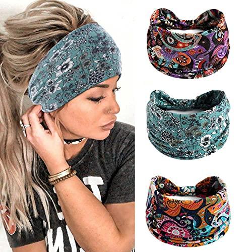 Yean - Fascia per capelli per yoga con fiore largo, fascia elastica per capelli vintage, accessori per capelli per donne e ragazze (confezione da 3)