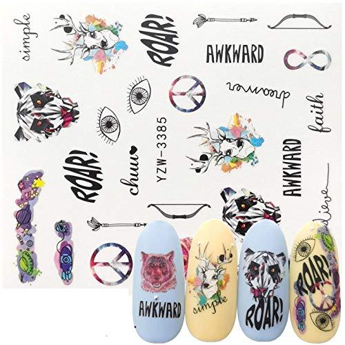 10Pcs Disegni Adesivi Per Unghie Lupo Volpe Gufo Orso Polare Animale Trasferimento Dell'Acqua Decalcomanie Del Tatuaggio Avvolge Accessori-11