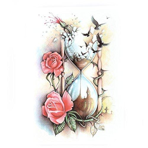Decorazione carta DealMux Fiore clessidra Aquila modello Braccio Body Art Sticker Decal rimovibile provvisorio del tatuaggio