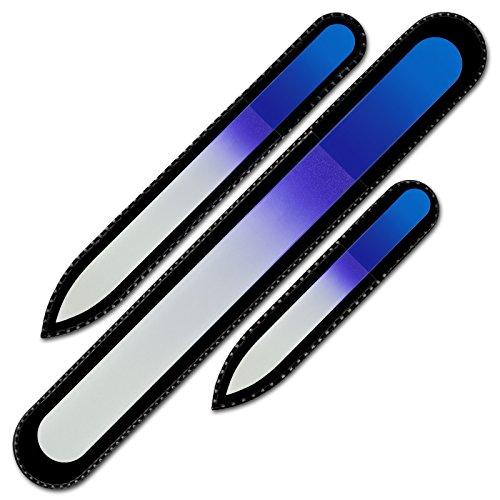 Mont Bleu Set di 3 lima per unghie in vetro colorato - vero cristallo di Boemia temperato - Garanzia a vita - Fatto a mano in Repubblica Ceca - lima unghie set professionale
