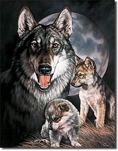 ZMKDLL Old Replica Tin Metal Logo Wolf Pup Big Family Howling Moon Dog 914 Targa in latta 20,5 x 30,5 cm