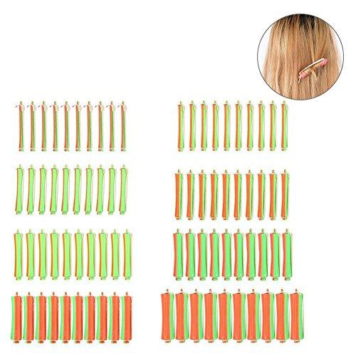 Bigodini per capelli con fascia in gomma, bigodini ondulati standard per parrucchiere e fai da te, 1-8 dimensioni, per ragazze e donne, confezione da 80 pezzi