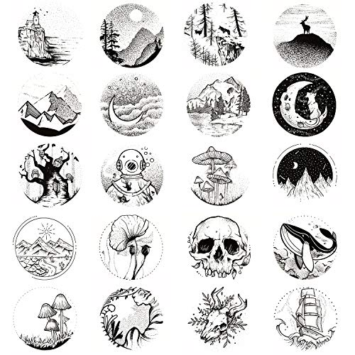 Qpout 20 pezzi Tatuaggi temporanei neri per adulti Uomini Donne Bambini, Geometria Triangolo Teschio di montagna Lupo Luna Sole Albero Cervo Delfino Impermeabile Braccio Mano Collo Polso Tatuaggi