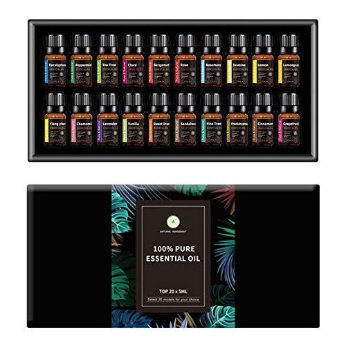 Set di oli essenziali per aromaterapia, Pure Care Essence, eucalipto puro al 100, tea tree, chiodi di garofano, bergamotto, rosa, per massaggio, aromaterapia, cura della pelle e dei capelli