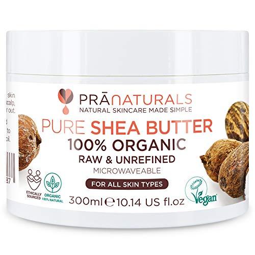 Burro di Karité PraNaturals 100% Naturale e Idratante 300 ml, Per tutti i tipi di pelle, Ricco di vitamine, grezzo, puro e non raffinato