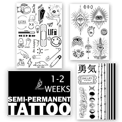 AWAKEN Tatuaggi Finti Temporanei Juice Tattoo Semi Permanente Adesivi Impermeabile a formula Vegetale dura 1-2 Settimane Unisex Kanji Japanese Occhio Provvidenza Emoji Braccio(Pacco 5)