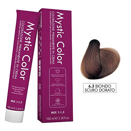 Mystic Color - Colore Biondo Scuro Dorato 6.3 - Tinta per Capelli - Colorazione Professionale in Crema a Lunga Durata - Con Cheratina Idrolizzata, Olio di Argan e Calendula - 100 ml