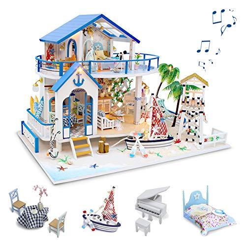 GuDoQi Kit da Casa di Bambole in Legno, Casa delle Bambole in Miniatura Fai da Te con Mobili e Musica, Modello Mini Appartamento Fatto a Mano, Blue Sea Villa