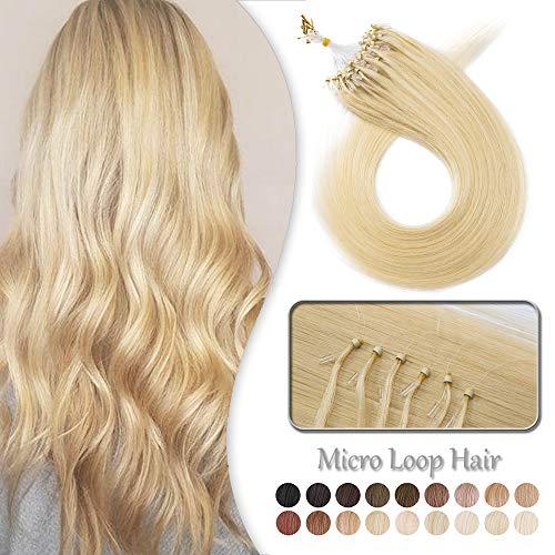 Elailite Microring Extension Capelli Veri Anellini 100 Ciocche 100% Remy Human Hair con Anelli Invisibili 50g 50cm #613 Biondo Chiarissimo