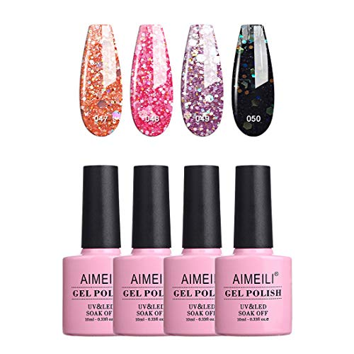 AIMEILI Smalto Semipermanente Soak Off UV LED in Gel Semipermanente Unghie per Manicure Kit Semipermanente Unghie Colorati Glitter Set 4 x 10 ml - Set Numero 6