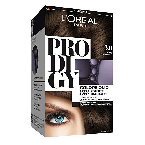 L'Oréal Paris Tinta Capelli Prodigy, Copertura Totale dei Capelli Bianchi, 3.0 Kohl Castano Scuro, Confezione da 1