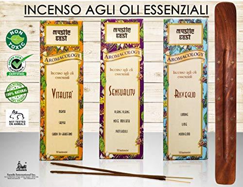 Bastoncini di incenso naturali, agli oli essenziali per benessere fisico, psicologico ed estetico. Aromaterapia, senza materiale tossico. (Misto)