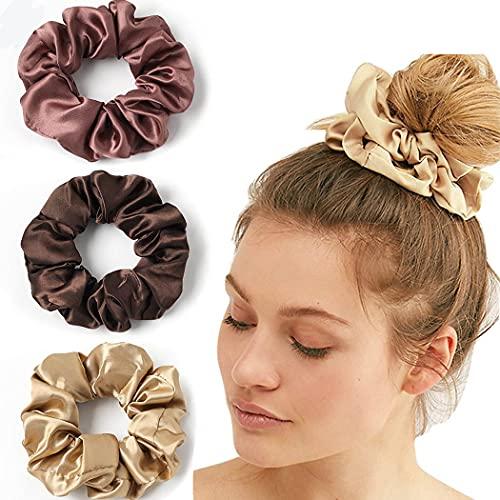 Generse - Elastico per capelli vintage, per capelli champagne, in raso, per coda di cavallo, accessori per capelli per donne e ragazze, confezione da 3
