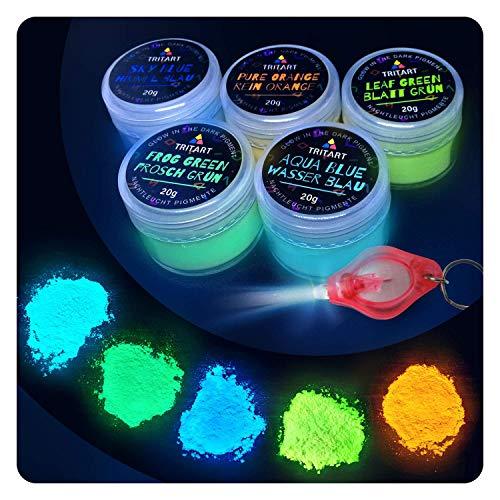 Tritart Polvere fluorescente auto-illuminante, 5 x 20 g, pigmenti luminosi notturni, set in polvere luminosa con lampada UV inclusa