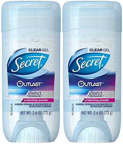 Secret Antiperspirant e deodorante per donne, Outlast Xtend Clear gel, proteggere polvere, 73,7gram, confezione da 2