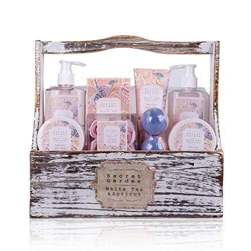 Accentra Secret Garden - Set da bagno e doccia alla fragranza di tè bianco e albicocca, confezione regalo da 8 pezzi