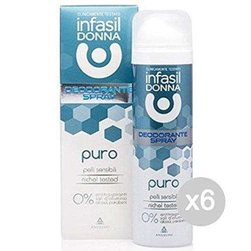 Set 6 INFASIL Deodorante Spray Puro Ml 150 Cura E Igiene Del Corpo