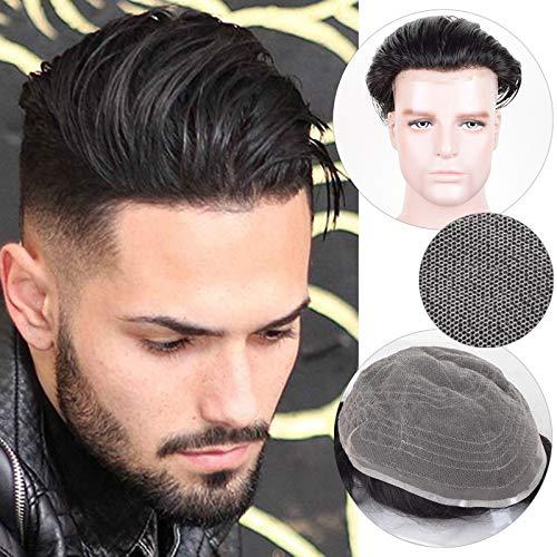 Auspiciouswig - Parrucca da uomo realizzata con capelli umani naturali al 100% e tenuti insieme con pizzo francese, dimensioni 25,4 x 20,3 cm (Color 1B)