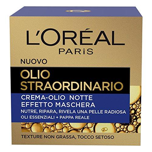L'Oréal Paris Crema Viso Notte Olio Straordinario, Trattamento Nutriente, Arricchito con Oli Essenziali e Pappa Reale, 50 ml, Confezione da 1