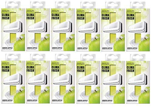 Areon Clima Deodorante Ambiente Mela Verde Filtri Condizionatori Profumati Casa ( Green Apple Set di 12 )