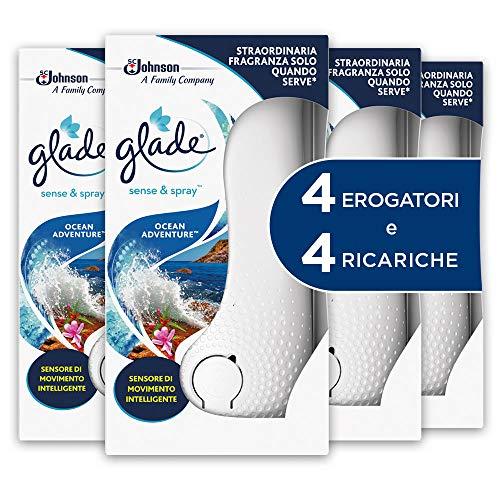 Glade Sense&Spray, Profumatori per Ambienti, Fragranza Ocean Adventure, 4 Erogatori e 4 Ricariche