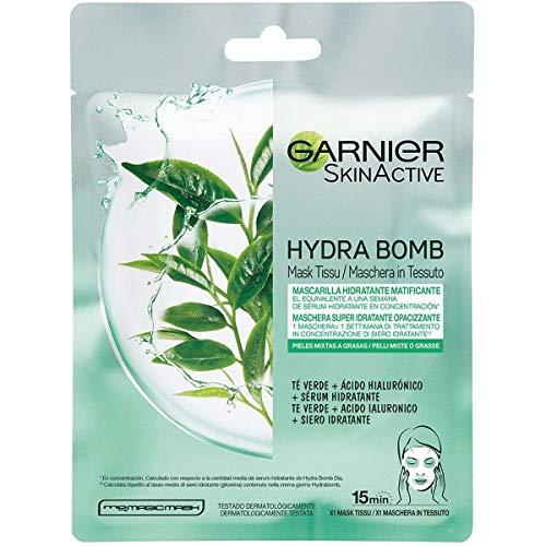 Garnier Maschera in Tessuto HydraBomb, Formula Idratante e Opacizzante per Pelli Miste o Grasse, The Verde, 32 ml