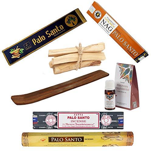 Set di incenso di Palo Santo | Aromi per meditazione e relax | 4 varietà di bastoncini (Sac, Sayta, Basili, Golden NAG) + Porta incenso + olio essenziale + 5 bastoncini di Palo Santo